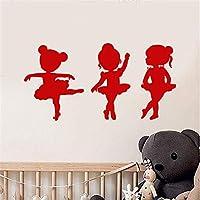 Cartoon Art Decor Vinyl Wall Decal Little Girls Ballet School Dancer Ballerina Wall Stickers for Kids Rooms Nursery Wall Decals 80 * 41