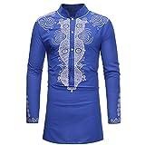 UJUNAOR Oktoberfest Herren Herbst Pullover Mantel 2018 Neueste Männer Casual African Gedruckt Langarm Top Bluse Streetwear Mode Basic T-Shirt Freizeit Hochzeit Bluse Mit Knopf(Blau,CN L)
