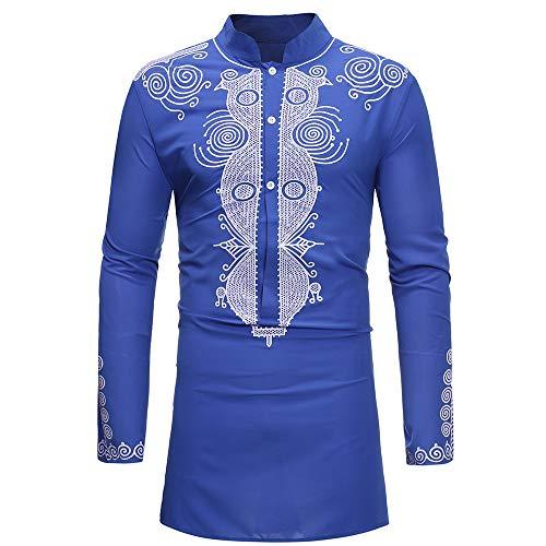 KPILP Hemd Herren Oberteile Bluse Luxuriöser Tägliches Afrikanisches Elegantes Druck Langarmshirt Dashiki Outwear Herbst Winter