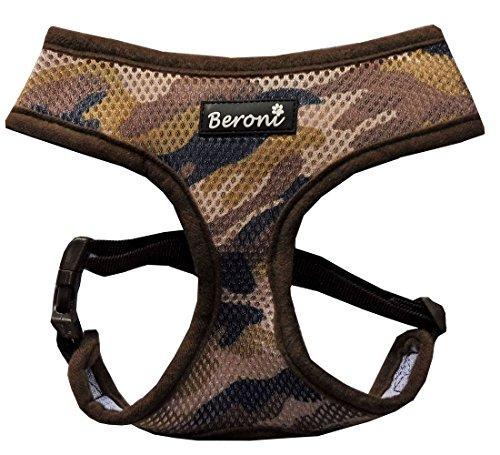 Softgeschirr Hundegeschirr Camouflage tarnmuster tarnfarben Brustgeschirr weich gepolstert VERSTELLBAR für kleine Hunde bis Mops Mesh (S ( Hals: 25-30cm, Brust: 30-41cm ), Braun)