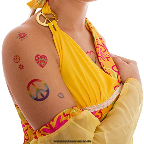 2 x Hippie Tattoo Karte - 58 Bunte Flower Power Peace Haut Tattoos - Fasching 60's Party (2)