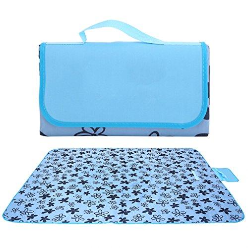 SYNMAT Wasserdicht Picknickdecke Matte Outdoor-Picknick Wasserdicht feuchtigkeitsdichten Zelt Matte 150 x 200 cm Blaue Streifen Baumwolle -