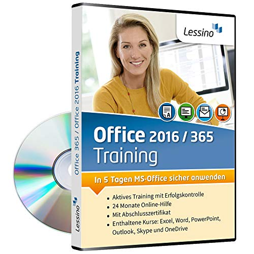 Office 2016 / Office 365 Training | Lernen Sie mit diesem Kurs Excel, Word, PowerPoint, Outlook, Skype und OneDrive | Einführung in MS Office | inkl. Online-Kurs [1 Nutzer-Lizenz]