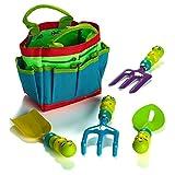 Prextex Kinder Garten Geräte Set umfasst Stoffbeutel und 4 Gartengeräte mit niedlichen Käfer Griffen