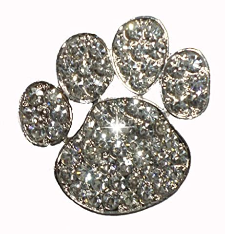 Clear Paw Brooch Pin Pet Dog Cat Rhinestone Diamante Crystal Gem Bling Novelty Fashion