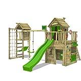 FATMOOSE Kletterturm CrazyCat Comfort XXL Spielturm Baumhaus mit Schaukel und Rutsche, Turmanbau, Kletterwand und Spielhaus mit Holzdach