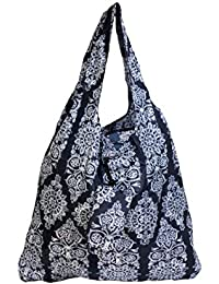 Damask Print Stylish Folding Pocket Tote Bag For Travel Shopping Picnic Beach Hiking Trips