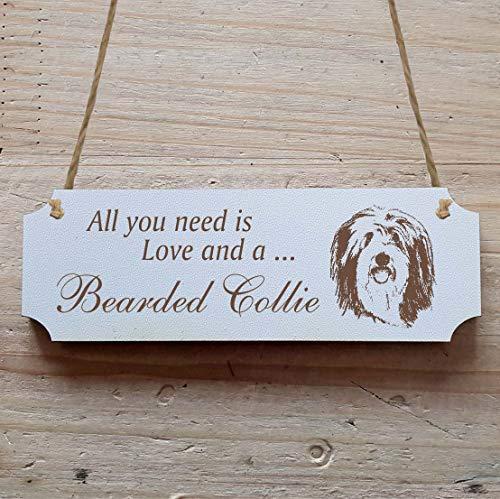 Schild « BEARDED COLLIE » 20 x 6,7 cm - Dekoschild Holzschild Türschild - Hund Haustier -