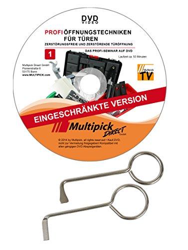 Dietrich Set 2-teilig mit Profi Anleitung auf DVD - Dietriche Sperrhaken für alle gewöhnliche Zimmertüren mit Buntbartschlössern