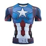 T-Shirt Moulant Imprimé 3D Captain America pour Hommes De Marvel T-Shirt De Fitness à Manches Courtes pour Femmes A-M