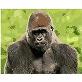 ZGGDYY malen nach Zahlen DIY-verärgerter melancholischer Schimpanse - Tierleinwandhochzeits-Art- DecoBildgeschenk 40x50cm(16x20in)