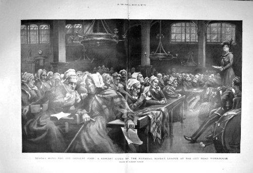 Hospice 1901 de City Road de Ligue de Dimanche de Concert de Musique par original old antique victorian print