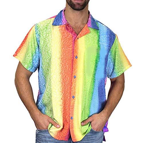 Regenbogen Kostüm Herren - TIFIY T-Shirts Herren, Sommer Regenbogen Gedruckt