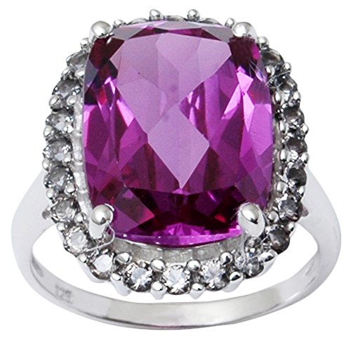Banithani 925 Reines Silber Amethyst Edelstein-Finger-Ring-reizend Frauen Fashion Jewelry (Rosa Edelstein Ring)