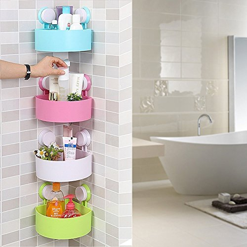 Dealcrox New Plastic Inter design Bathroom Kitchen Storage Organize Shelf Rack Triangle Shower Corner Caddy Basket with Wall Mounted Suction Cup 1 Pic