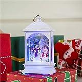 Wankd Tischlampe, Weihnachtsdeko, Weihnachtsbeleuchtung, LED Laterne mit Beleuchtung Lichterkette Tischleuchte 3D Effekt Batterie und Strom Betrieb Weiß (Schneemann)