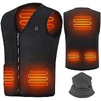 Suxman Chaleco calefactable USB, Chaleco calefactable para Hombres y Mujeres, Temperatura térmica Ajustable, Carga USB, calefacción de Espalda y Cuello, Chaqueta Inviern- Lavable