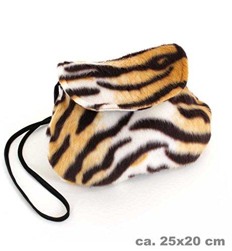 Accessoires Kostüm Handtasche - KarnevalsTeufel Plüschtasche, Verschiedene Designs, Umhängetasche, Tier-Prints, Accessoire, Ergänzung zu Ihrem Kostüm, Handtasche, Tasche, große Auswahl (Tiger)