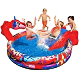 Banzai Inflatable Children's Pool Dragon Theme Paddle Pool with Slide 147x25cm