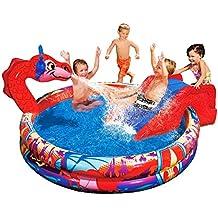 Großer Drachen-Pool, 147 cm, Dino-Pool mit Sprinkler, Planschbecken, Rutsche