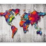 Papier peint intissé 400x280 cm - 3 couleurs ? choisir - Top vente - Papier peint - Tableaux muraux déco XXL - Carte du Monde Beton k-A-0033-a-b
