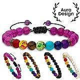 Aura Design 7 Chakra Perlenarmband für Damen und Herren - edle Naturperlen - Yoga Armband - Meditation - Buddha Armband - Stein Armband - Lila - [19,5 cm Umfang] & [8 mm Perlen] ...