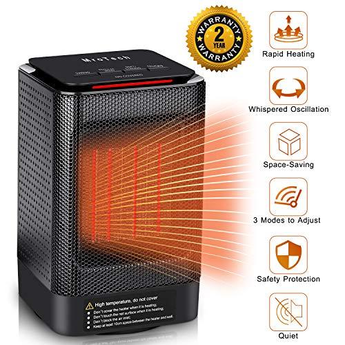 Mrotech riscaldatore spaziale personale stufa elettrica riscaldamento ceramico 950w / 450w portatile stufetta mini termoventilatore oscillante regolabile fast heater per casa / ufficio