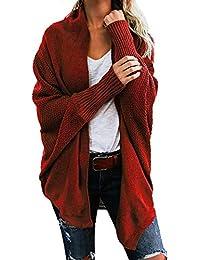 SHOBDW Mujeres Fuera del Hombro del suéter de Punto Ocasional Sueltas Tops Largos de Manga Larga suéter otoño Invierno Abrigos