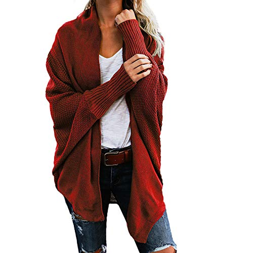 ESAILQ Damen Aus Der Schulter Lässig Gestrickt Lose Langarm Pullover(One Size,Rot)