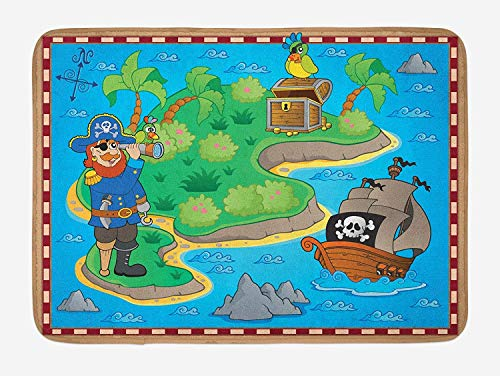 Klotr Fußabtreter, Island Map Bath Mat, Funny Cartoon of Treasure Island with A Pirate Ship and Parrot Kids Play Room, Plush Bathroom Decor Mat with Non Slip Backing, 23.6 X 15.7 Inches