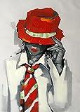 Cuadro Chica con sombrero y corbata