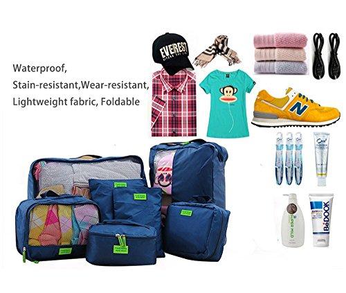 Giancomics® 3 Pcs Kofferorganizer Packtaschen Koffer Wäschtaschen Kleidertaschen Luggagebags Packwürfel Set Haushaltsware Reise Pack (Schwarz - 3 Pcs) 7 Pcs - Blau
