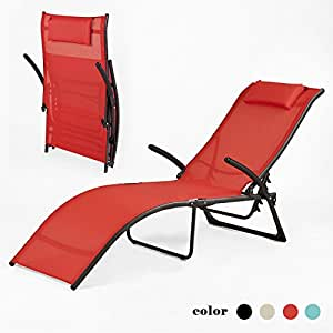 sobuy ogs22 r transat de jardin pliable bain de soleil fauteuil relax chaise longue dossier. Black Bedroom Furniture Sets. Home Design Ideas