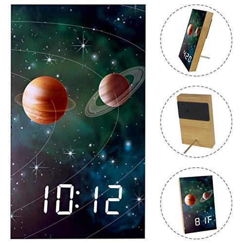 Nananma Home Digital Alarm Clock Solar System Print,USB Charging Port, Sleep Timer,Snooze Battery Backup Bedrooms with LED White Display -
