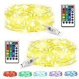 [2 PEZZI] IDESION Catene Luminose 5M 50 LED 16 colori 4 modalità Stringa Luci LED USB Impermeabile Con Filo Di Rame Per Decorazioni Festive e Natale Interno ed Esterno
