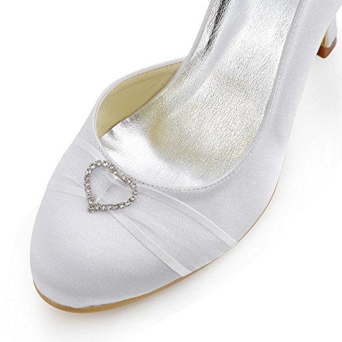 Elegantpark A0617 bout Rond Grind Herz Boucle Pompes Haut Satin Femmes Chaussures de Mariee Blanc