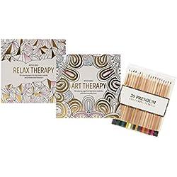 Juego de 2 libros de colorear, terapia antiestrés para adultos, 120 diseños por libro, incluye 20 lápices de colores, de Invero