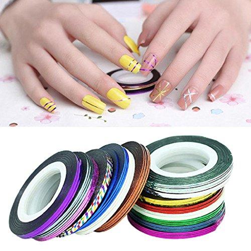 Internet 32pcs mixte Couleurs Rolls Striping Ruban Ligne Nail Art Conseils Autocollant Décoration