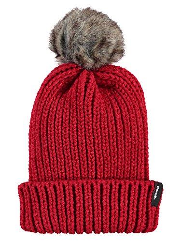 Mit Rote Beanie Pom (Bench Damen Strickmütze Turn UP Fur Pom Beanie, Rot (Bright Red Rd038), One size)