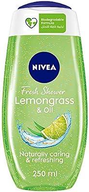 NIVEA Lemongrass & Oil Shower Gel, Caring Oil Pearls, Lemongrass Scent, 2