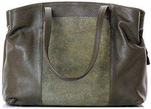 Primo Sacchi® italienischen perforiertem Leder olivgrün handgemachte große Führungsholm Umhängetasche Handtasche mit Wildleder Frontplatte Tasche enthält eine Marke schützenden Aufbewahrungstasche (Grün-legere Handtasche)
