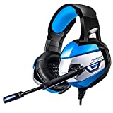 #10: BINZI 3.5mm Stereo USB LED Headphones with Omnidirectional Microphone PC-Gaming Headset for PS4-Sound Control for PC Mac PS4 - (Blue)