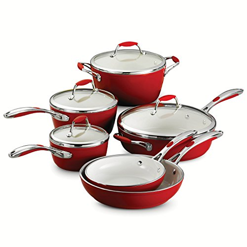Tramontina 80110/202DS 10-Piece Gourmet Ceramica 01 Deluxe Cookware Set, Metallic Red by Tramontina