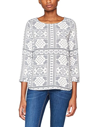 TOM TAILOR Damen Bluse Casual Print Blouse Shirt, Elfenbein (Whisper White 8210), 38
