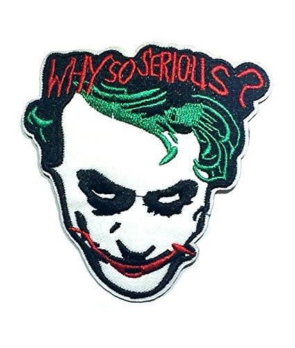 Anwendung Classic DC Comics The Joker Why So Serious? Cosplay Abzeichen bestickt zum Aufnähen oder - Black Butler Joker Kostüm