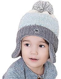 Tukistore Bebé niños niñas Lindo Beanie Sombrero Invierno cálido Sombrero  de Punto con Pompom Gorro de Invierno Gorra de protección… 45cd84e33bc