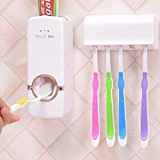 Finiviva Plastic Automatic Toothpaste Dispenser with Tooth Brush Holder for Home and Bathroom Acessories (Multicolour, 16x10.5x7.6cm)