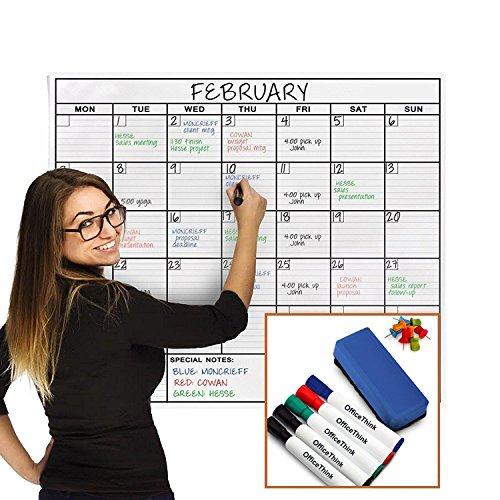 OfficeThink Laminated Jumbo Organizing Calendar, Huge 91-CM by 122-CM Size, Extra Large Date Boxes, Easy Erase Film, Never Folded, Bonus 8 Jumbo Tacks, 5 Markers, 1 Eraser Included