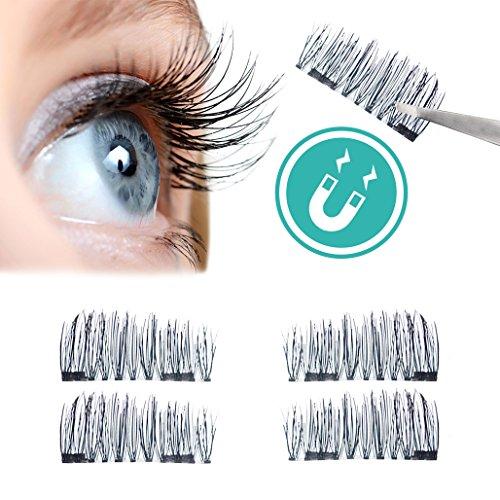 Preisvergleich Produktbild Magnetische falsche Wimpern,  wiederverwendbare Wimpern mit Magneten für einen natürlichen Augenaufschlag ohne Kleber,  handmade (Set mit 1 Paar / 4 Stück) by BLISSANY