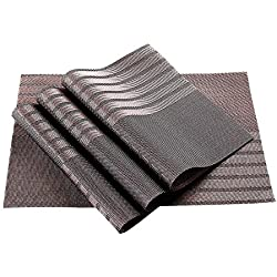 Manteles, GETALL vinilo tejido antimanchas lavable Cocina PVC antideslizante aislamiento mantel (raya)